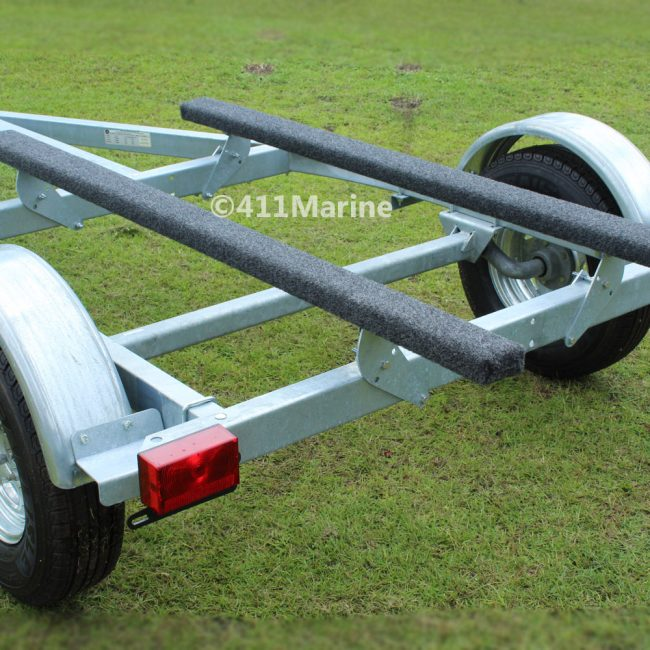 rear angled view boat trailer